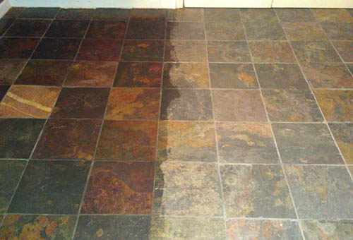 Photo of polished stone floor tiles